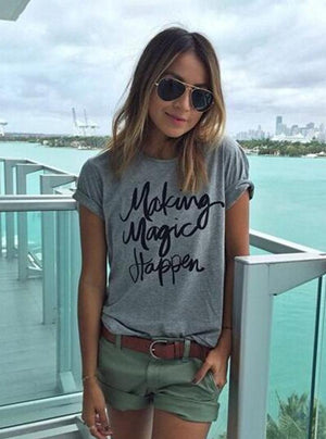 Letter printed Gray color short sleeve T-shirt