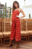 Sexy Red Floral Pattern Bohemian Lace Up Backless Jumpsuit
