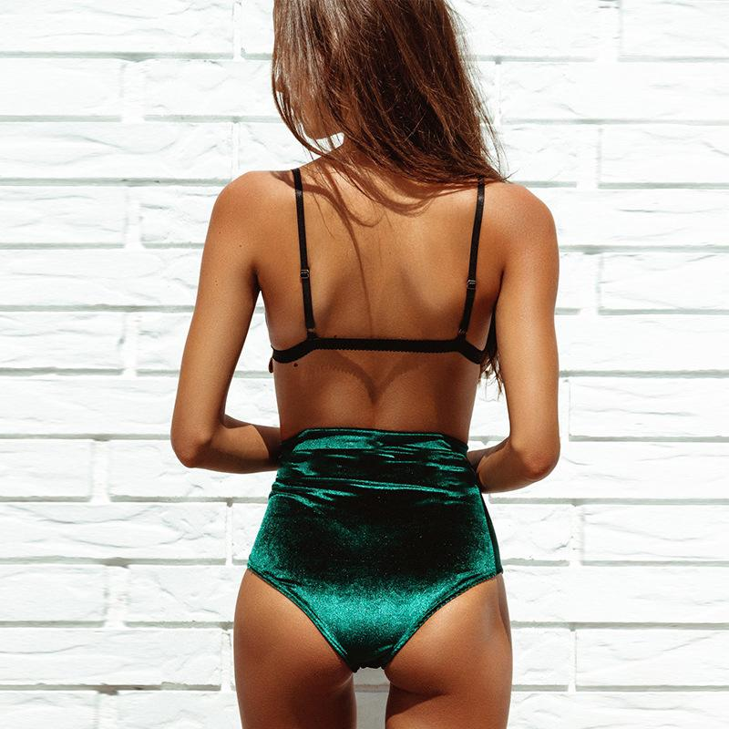 Split Swimsuit Velvet Boho Bikini