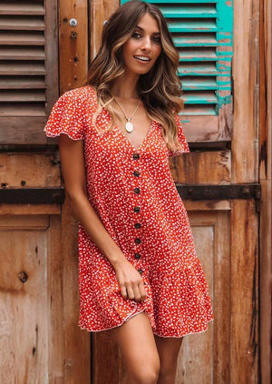 Sexy V neck Floral Button Dress