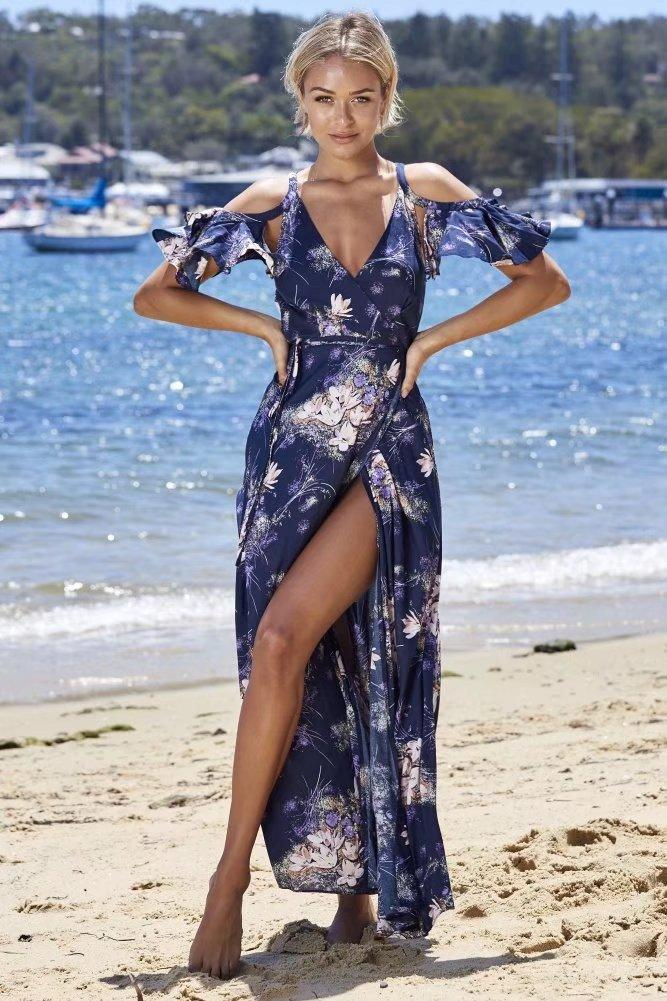 Sexy V Neck Floral Print Boho Beach Maxi Dress