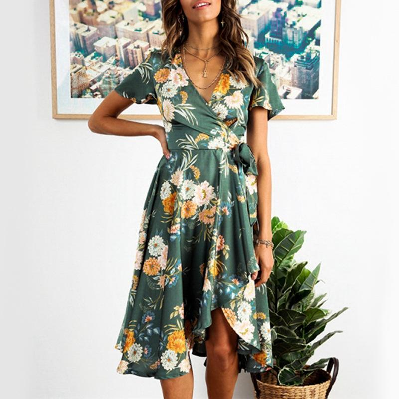 Lace up high-waisted printed Elegant casual dress