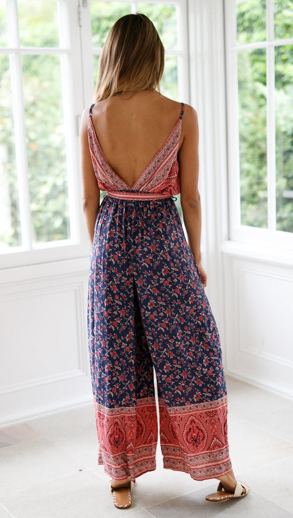 V-neck strap printed backless sling jumpsuit
