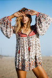 Beach Deep V-neck Long-sleeved Boho Dress