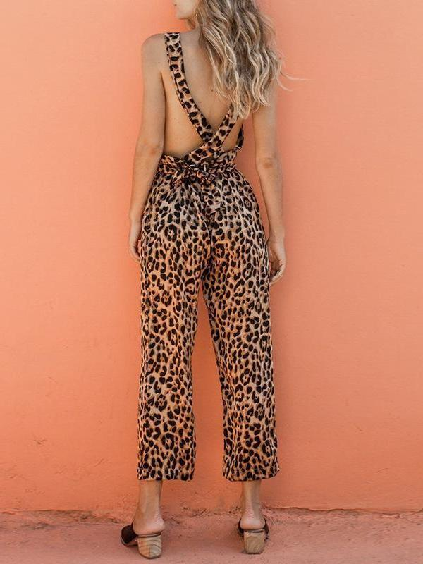 Sexy summer leopard jumpsuit