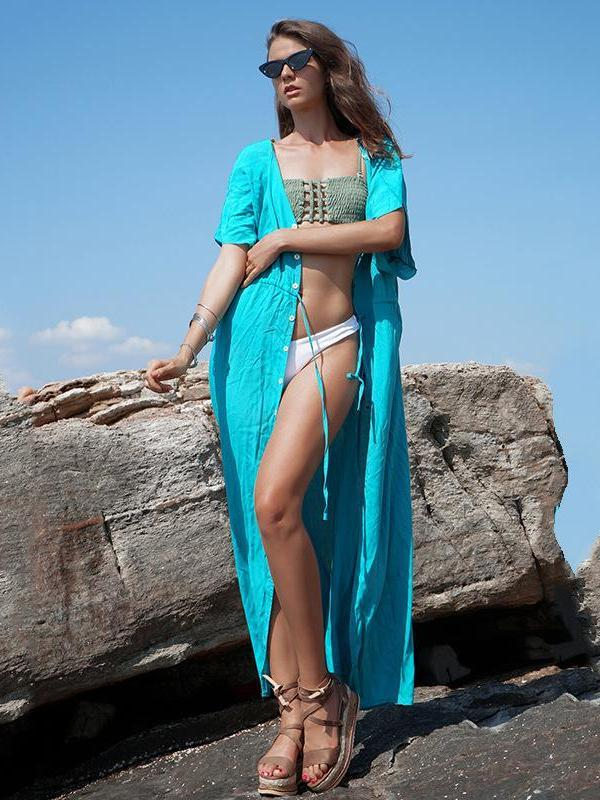 Solid Loose Deep V Neck Beach Maxi Dress