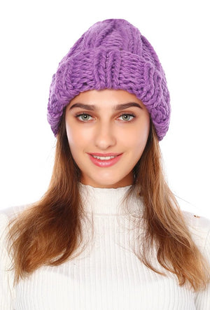 Knitted Warm Winter Solid Color Curled Thick Wool Hats