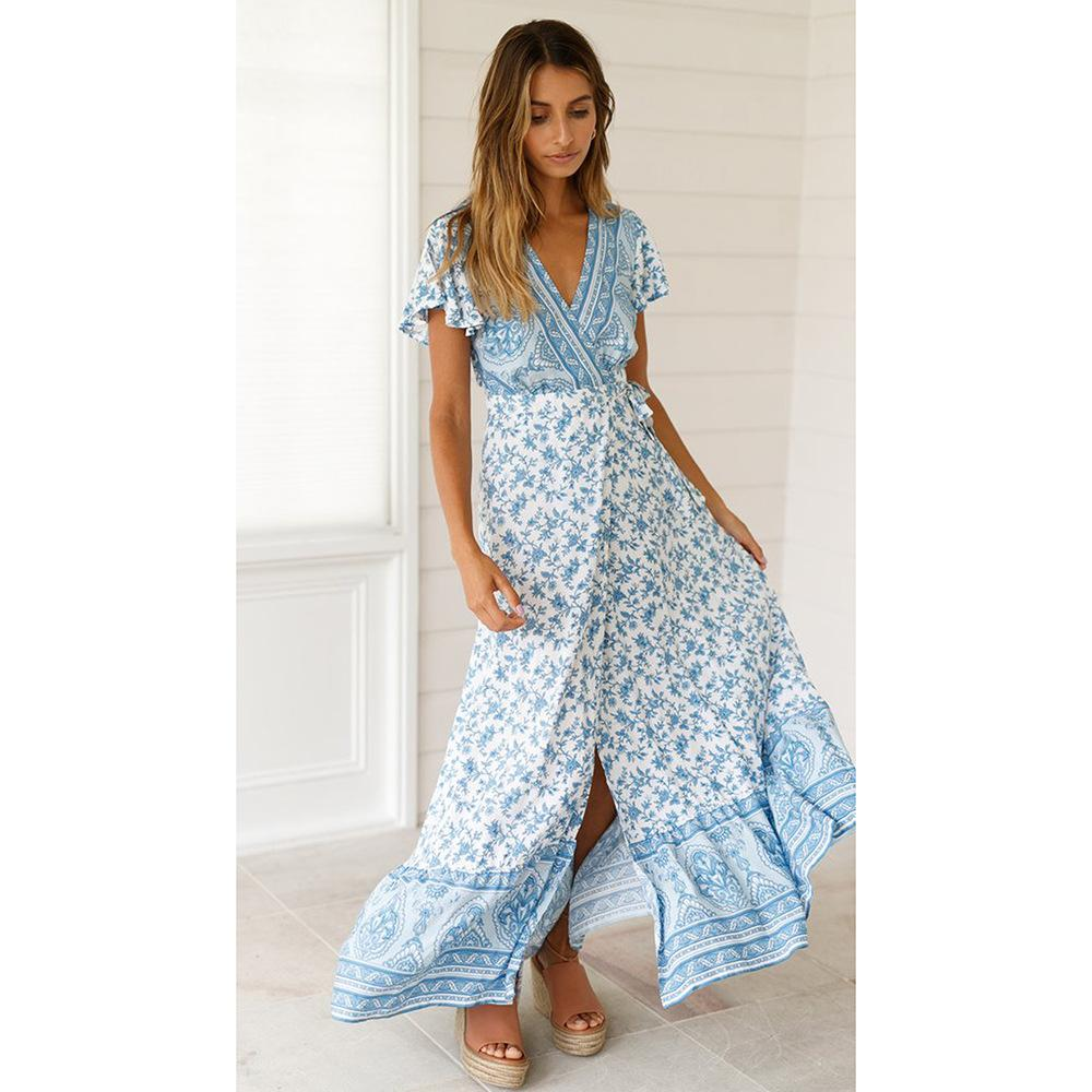 Large Swing V-neck Bohemian Beach Print Dress