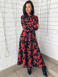 Floral Printed Long Sleeve Ruffled Casual Maxi Dress