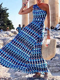 Blue Sleeveless Floral Swing Maxi Dresses