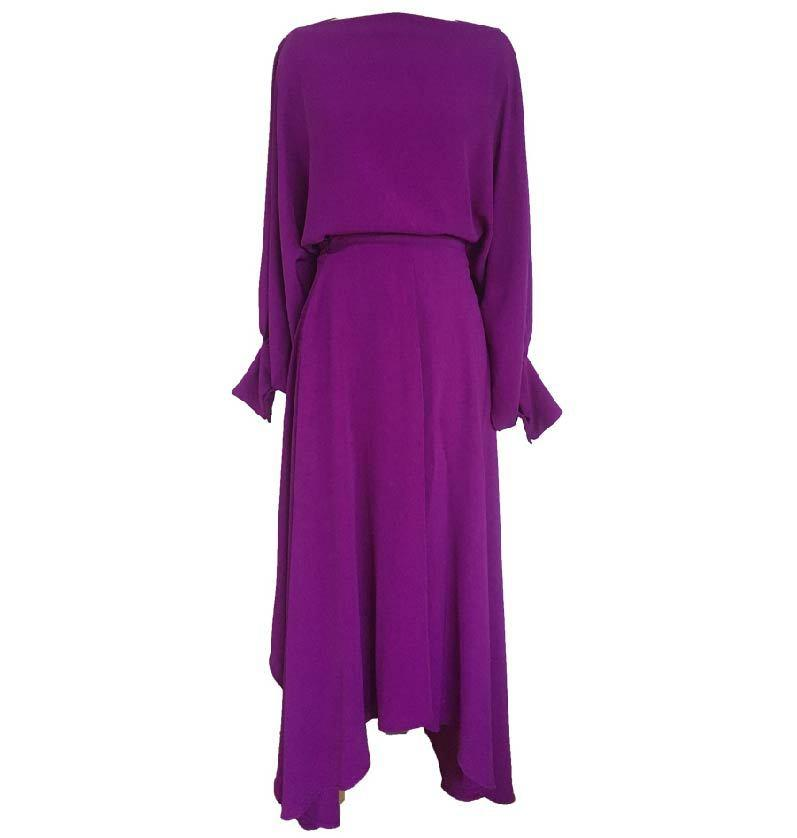 Lantern Sleeves Asymmetrical Purple Evening Dress