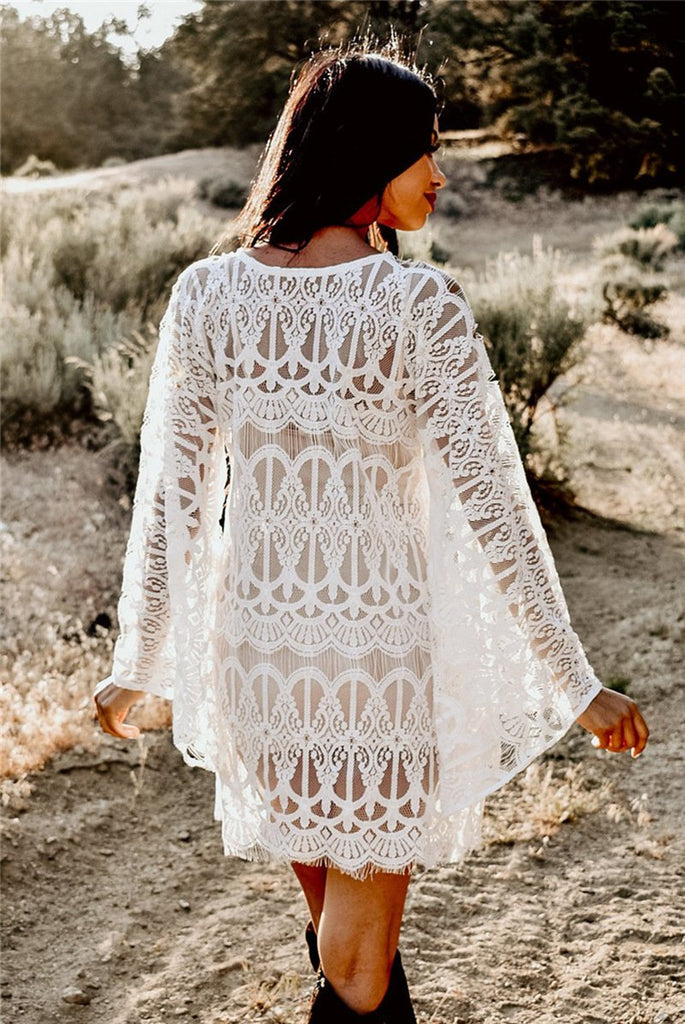 Boho Lace Beach Overall Sexy White Cover Ups