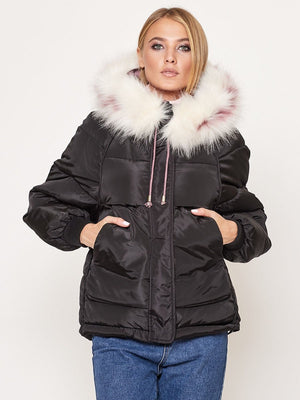 Fur Collar Colorful Women's Down Jacket-5color