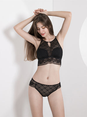 High Neck Vest Thin Cotton Cup Hollow Hanging Neck Lace Bra Set