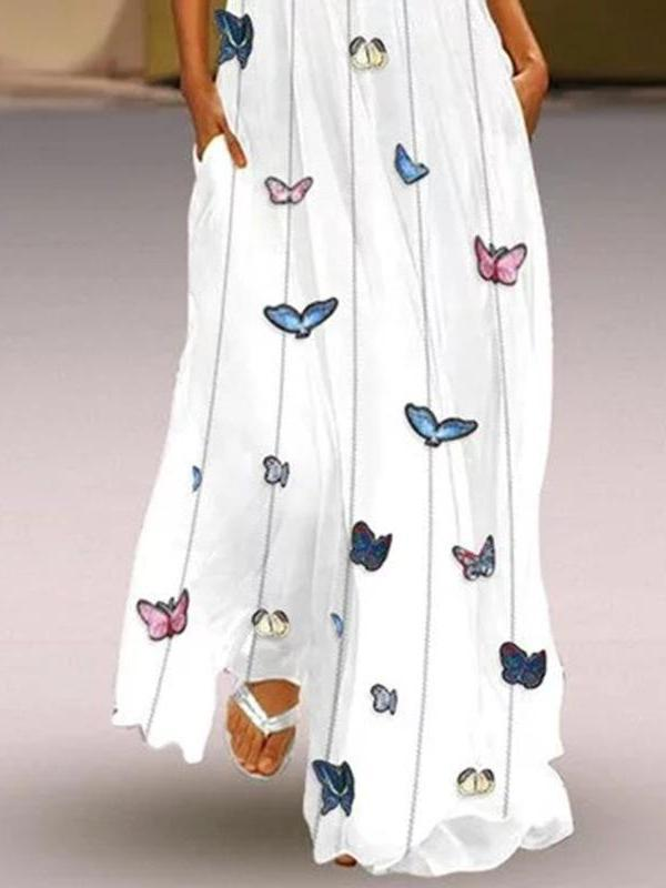 Butterfly Printed Sleeveless V Neck Maxi Dress
