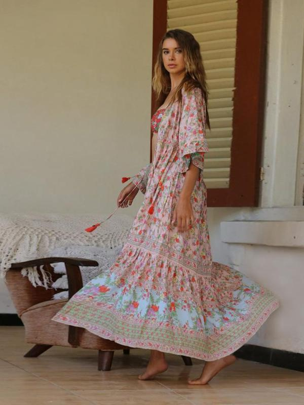Bohemian V Neck Printed Colour Maxi Dresses