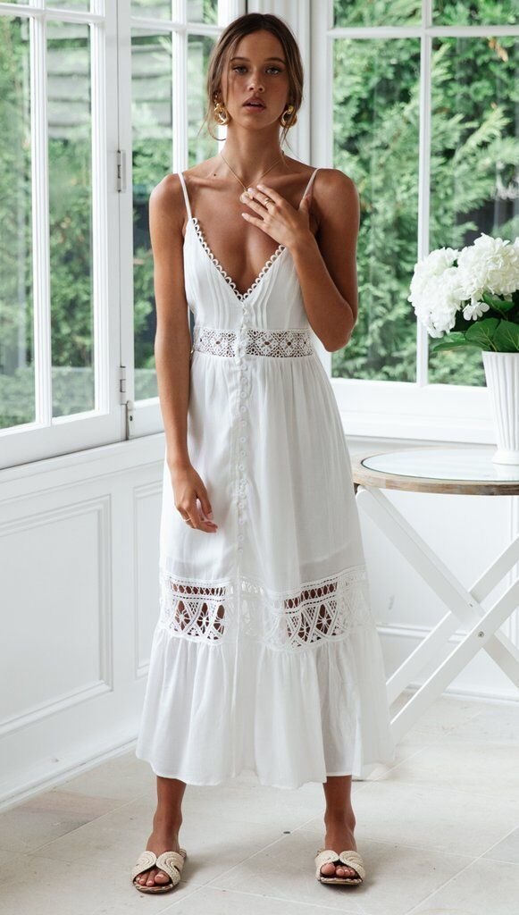 Lace cotton stitching sexy cutout halter dress