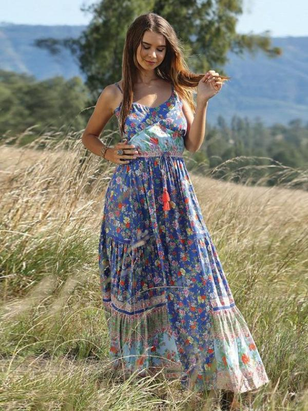 Bohemian Beach Holiday Ruffled Floral Sleeveless Maxi Dress