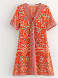 Printed Orange Boho Mini Dress