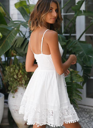 Sexy Lace Stitching Sleeveless White Boho Mini Dress