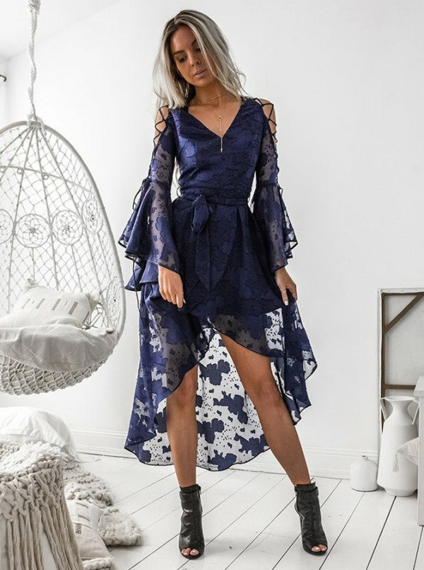 Sexy V-neck Lace Blue Strap Dress