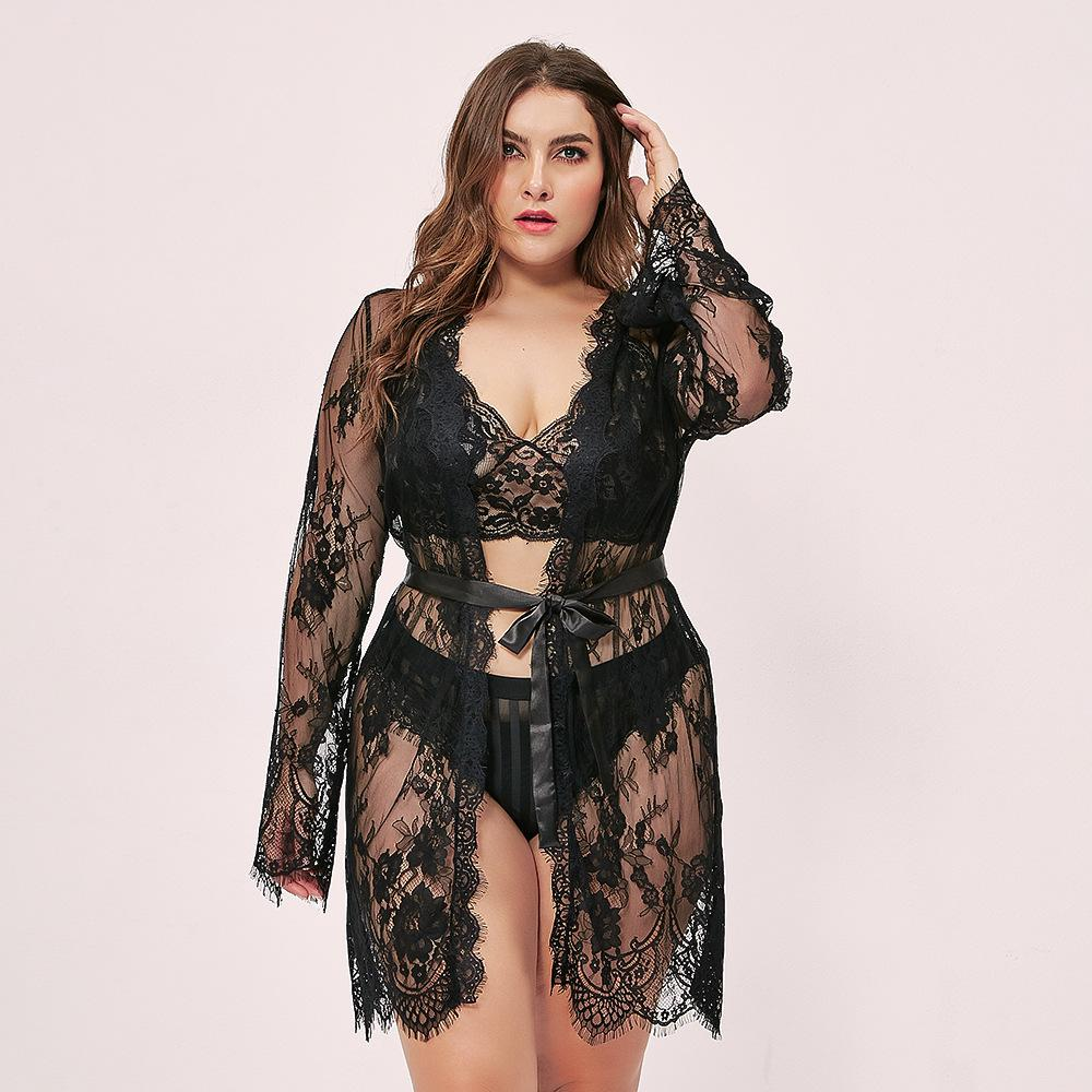 Black Sexy Lingerie Lace Slits Nightdress V-neck Nightie XL-4XL