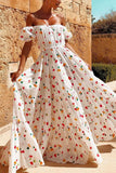 Boho Floral Off Shoulder Short Sleeve Beach Maxi Dress
