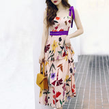 Casual Sling Printed Colour High-Waist Maxi Dresses