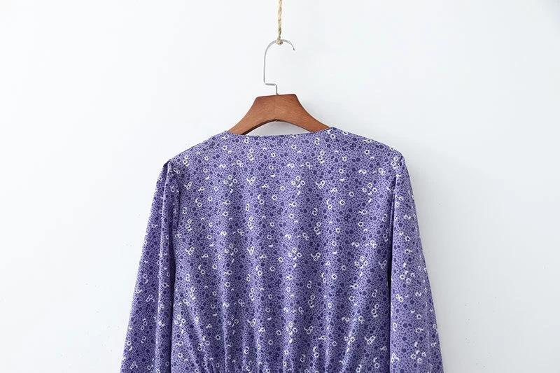 Purple Floral Single Breasted Holiday Print Long Sleeve Dress