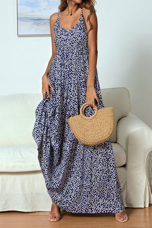 Best selling Small Floral Sling V-neck Maxi Dress