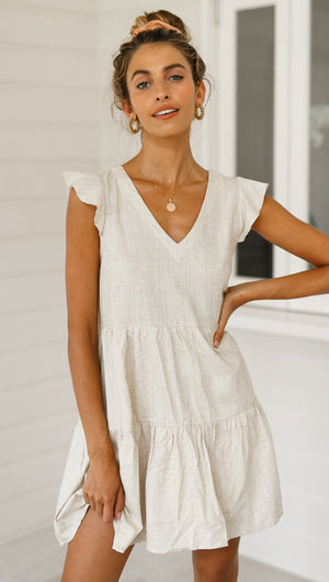 Solid V-neck loose casual dress
