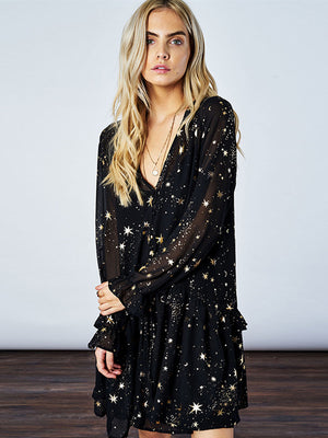 Starry Night Long Sleeve Mini Dress