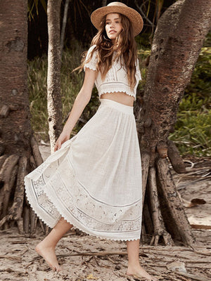 White Color Bohemian Beach Fashion Suit Sets