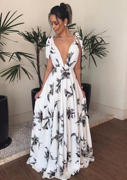 Bohemian V Neck Belted Printed Colour Bare Back Dress