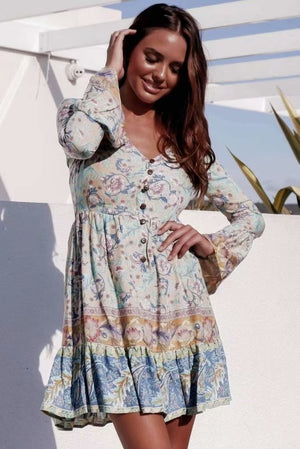Printed V-neck Large Swing Holiday Bohemian Waist Single-Breasted Dress