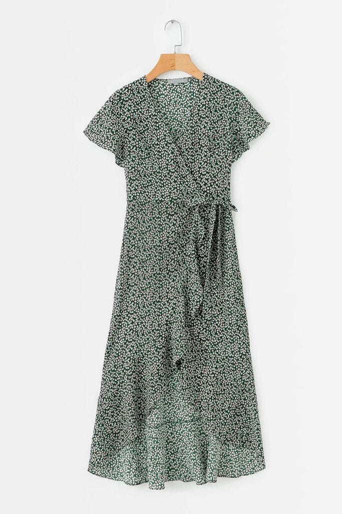 Silk Cotton Printed V-neck Rrregular Dress