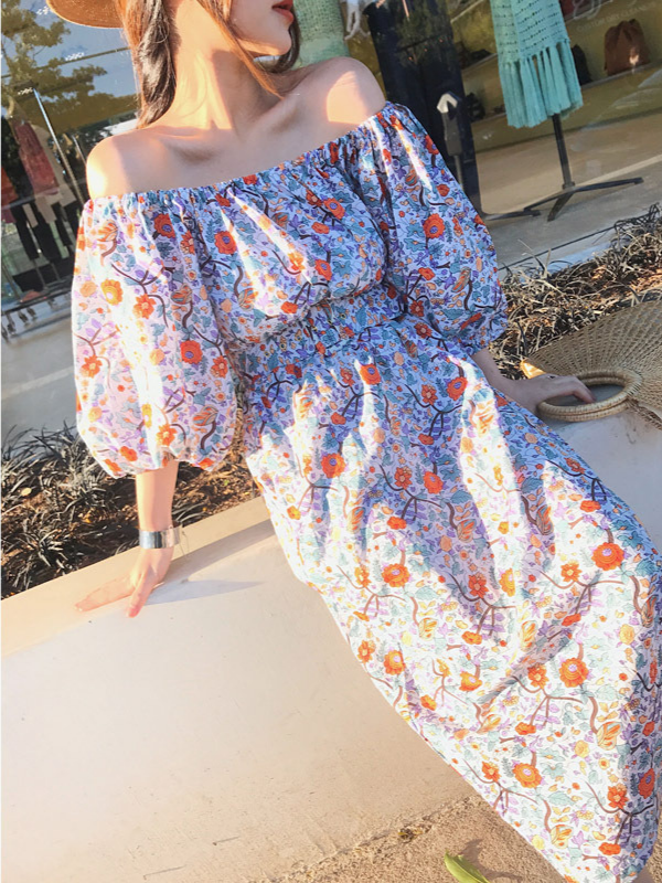 Off-shoulder Print Midi Dress