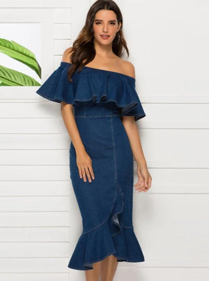 Sexy Skinny Hip Ruffled Shoulder Dress