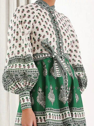 Vintage wind lantern sleeves high waist with green cotton and linen dress