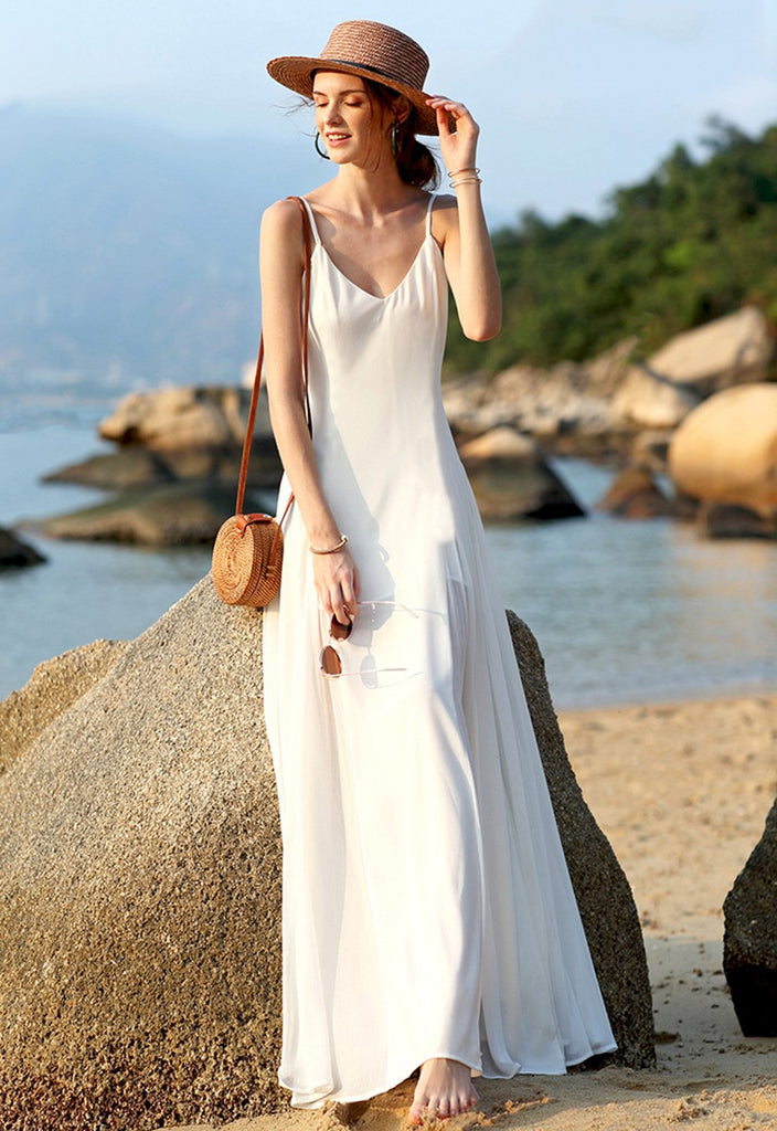 Bohemian Fashion V-neck Solid Sling Maxi Dress