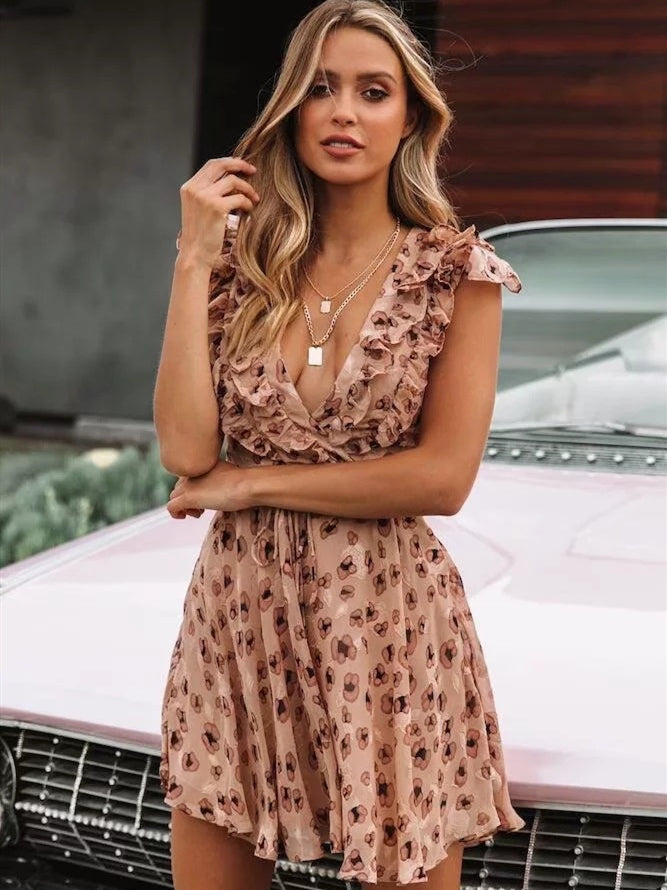 Ruffled V Neck Short Boho Mini Dress