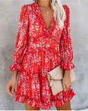 Backless Boho Floral Ruffle Mini Dress