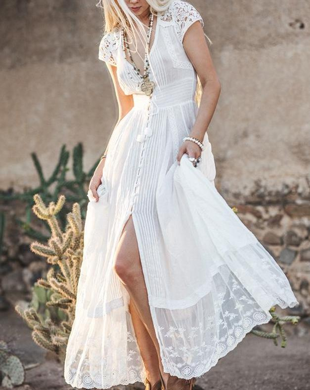 Bohemian White Solid Color Vintage Maxi Dress