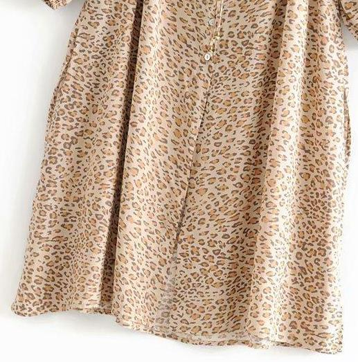 Leopard Print Long Sleeve Loose Holiday Dress