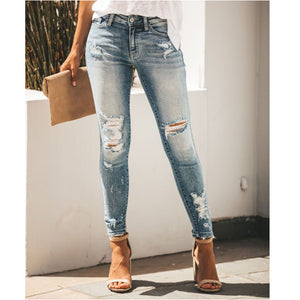 Slim Hole Sexy Mid Rise Denim Trousers
