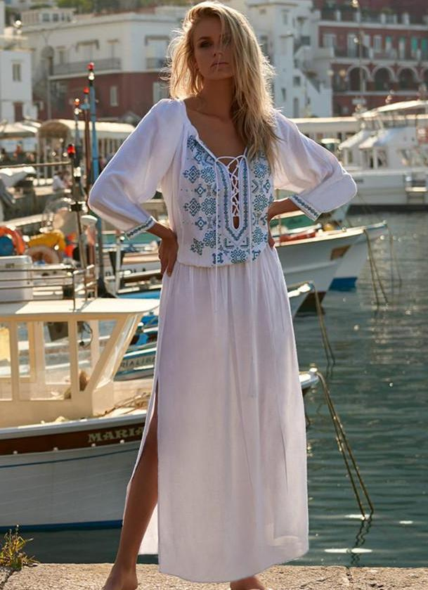 Chest Strap Beach Bikini Outer Cover Shirt Dress