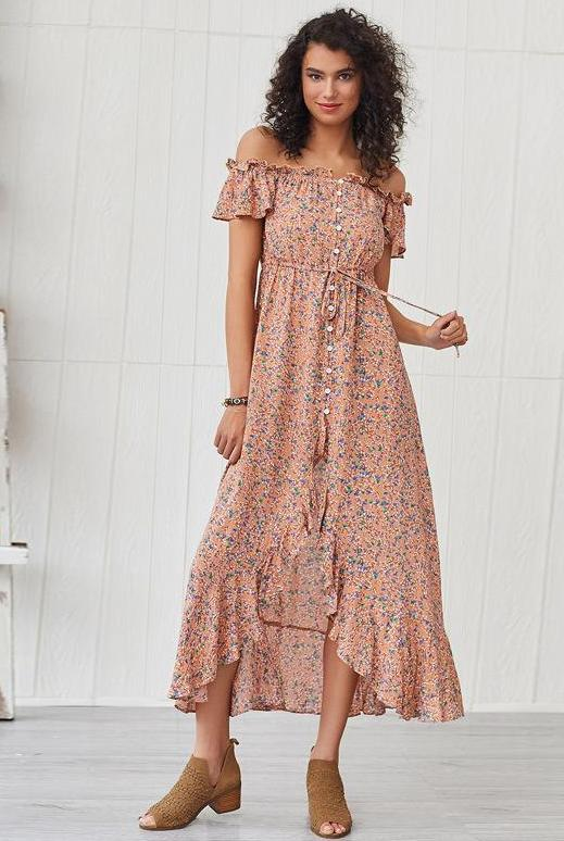 Bohemian Ruffled Stitching Shoulder Floral Dress