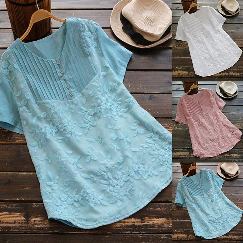 Women Cotton Linen Shirt Casual O-Neck Embroidery Summer Tops Shirts Plus Size
