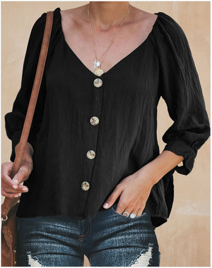 Button V Neck Loose Casual Blouse - 3 Colors