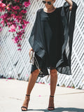 Design Hollow Bat Sleeve Chiffon loose Solid Color Dress - Black
